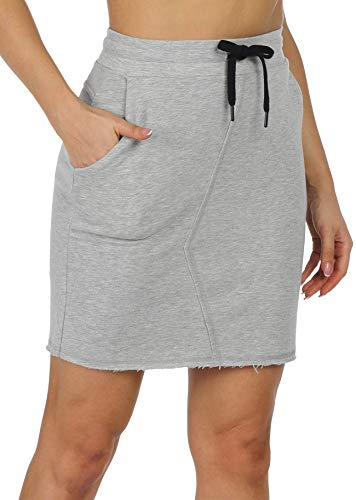 icyzone Golf Skirts for Women, Athletic Tennis Running Workout Skirt with Pockets (Grey Melange, Medium)