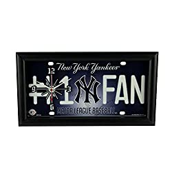Good Tymes Enterprises, Inc. MLB New York Yankees Number 1 Fan License Plate Mantel or Wall Clock