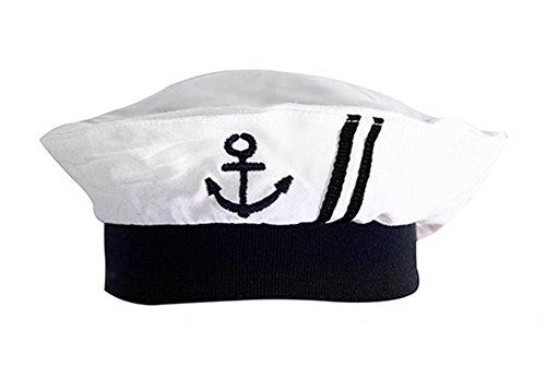 stylesilove Newborn Infant Embroidered Nautica Sailor Cotton Baby Boy Hat, 3-12 Months (White)
