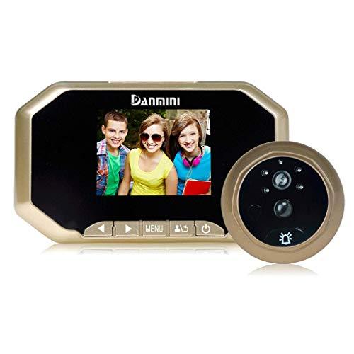 Draadloze deurbel, draadloos, 3,0 inch, intelligente video-deurbel met kattenoog, HD met nachtzichtfunctie Goud