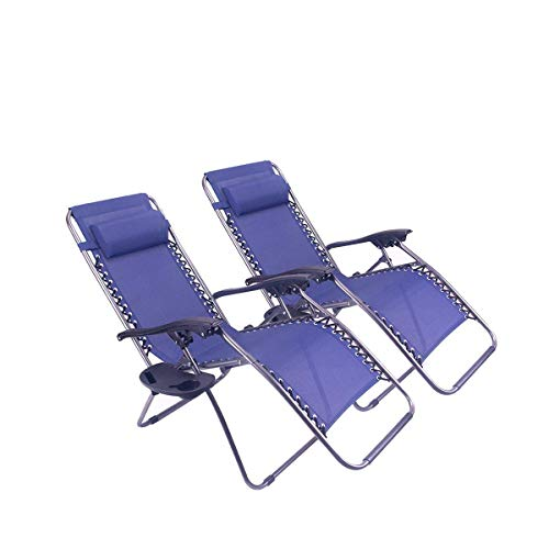 Polar Aurora Zero Gravity Chairs Recliner Lounge Patio Chairs Folding Cup Holder 2 Pack