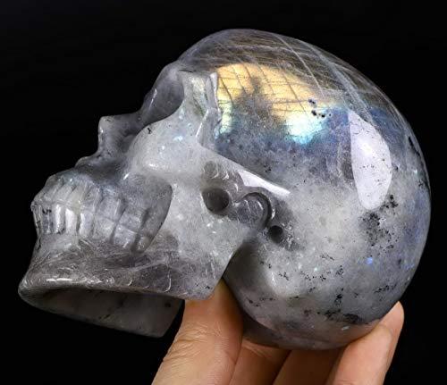 "Skullis 5.0"" Labradorite Crystal Skull, Hand Carved Gemstone Fine Art Sculpture, Reiki Healing Stone Statue."