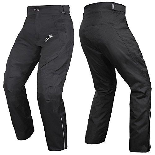 HWK Mens Black Textile Breathable Waterproof CE Armoured Motorbike Overpants Motorcycle Trousers/Pants - 1 year Guarantee Waist30''-32'' Inseam30''