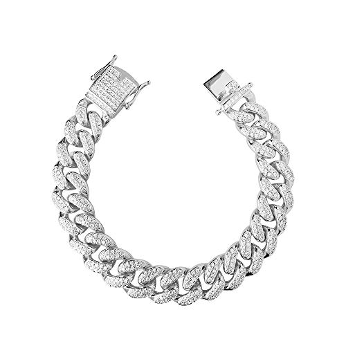 Unisex Bling Bling Iced Out Cubic Zirconia Diamond Silver Gold Hip Hop Thick Miami Cuban Link Chains and Bracelets 16'18' 20' 24' / 7' 8' 9' (14mm/ Bracelet Silver, 7)