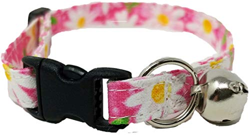 Britches4Stitches Pink Daisy Cat Collar - Kitten Flower Adjustable Daisies Spring Fabric with Bell and Break Away Buckle Large Quick Release (M- Average Cat)