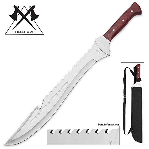 Tomahawk Razorback Full Tang Machete with Nylon Shoulder Sheath - Genuine Heartwood Handle, Sawback Serrations - 21 1/4