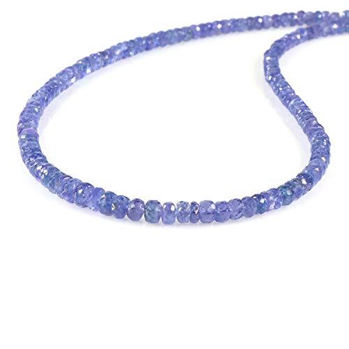 Collana di tanzanite naturale con lucchetto in argento sterling 925, gioielli di perle di tanzanite...