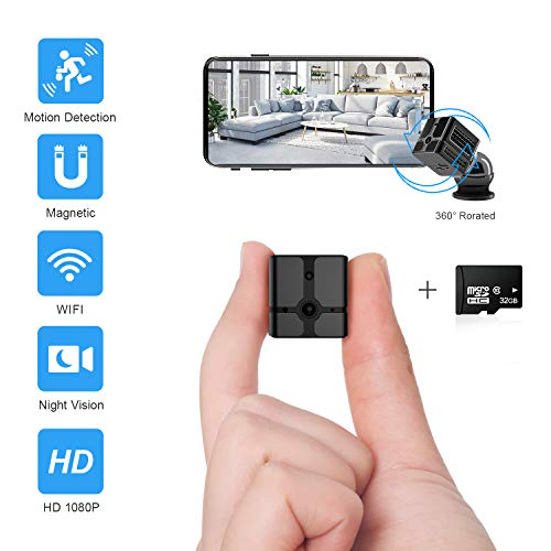 Mini Spy Camera WiFi, Ehomful 1080P HD Wireless Hidden Camera Live Streaming with App,Cop Spy Cam Seen On TV, Nanny Cam for Home Security,Body Camera Night Vision/Motion Activated,32 GB Card