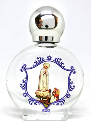 GTBITALY Maria Maddona Aparición de Fátima Botella de cristal con tapón plateado para agua Santa con impresión UV ultra violeta