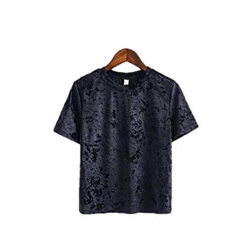 Camiseta de Mujer Cómodo Terciopelo Moda de Verano O-Cuello único Casual Manga Corta Entrenamiento Tops Streetwear