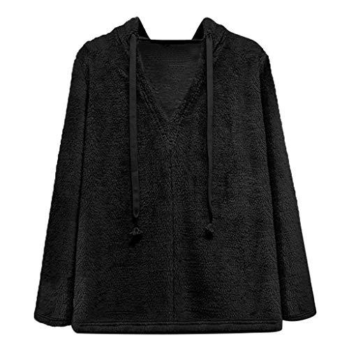 KPPONG Pullover Damen Teddy-Fleece Winter V-Ausschnitt Kapuzenpullover Sweatshirt Hooded Plüsch Pulli Warm Outwear