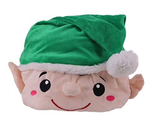 Cappello di Natale di lusso - Cappello carattere verde Elf con pom pom e ricamo