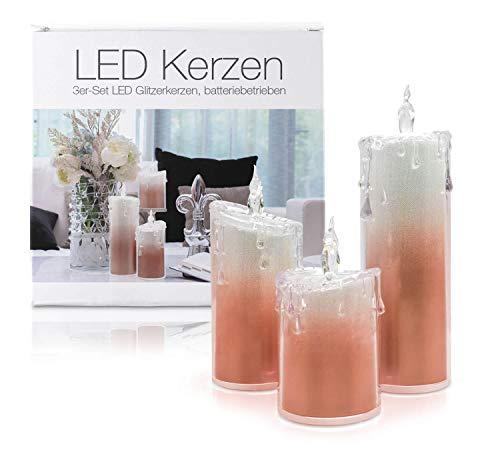 """LED Universum - LED Glitzer Kerzen 3er Set""""Liza"""" Acryl für 3 AAA Batterien Deko Candle mit Glitzereffekt kaltweiß und warmweißem Flackereffekt stylische Dekoration (3er Set Rot)"""
