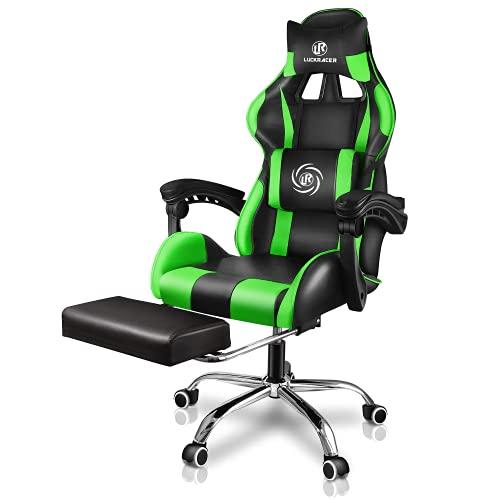 scrivania gaming verde LUCKRACER Sedia Gaming Ufficio da Scrivania con Massaggio Poltrona Ergonomica Sedie da Gaming Girevole con Rotelle