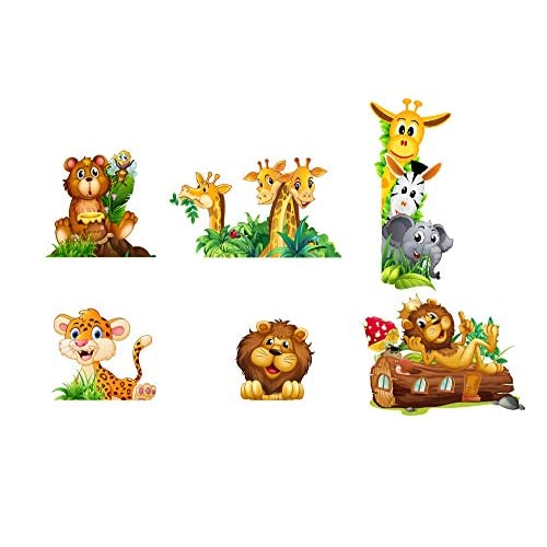 Adesivi Murali Adesivi da Parete Camera da letto per Bambini Decorazioni Parete 6 PEZZI Giraffe Orsetto Leone Elefantino Zebra Giraffa Wall Stickers Murali Soggiorno Asilo Nido