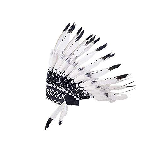 KNDJSPR Kids Feather Headdress Disfraz De Valiente Nativo Americano Novedad Inspirada En La Fiesta Novedades DecoracióN Cabeza para NiñOs Vestir Juegos De FantasíA - Talla úNica