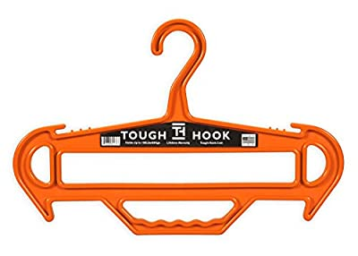 Tough Hook Tough Hanger Ultimate X-Large Heavyweight Strong Standard Hanger Holds 150 Pounds, The Only Hangers with a Built in Carry Handle, 100% USA Made, (Orange)