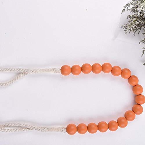 Piner 2 stks/partij Kleur Hout Kraal Gordijnen Tieback Houder Gordijnen Gesp Clips Multi Douchegordijn Band Accessoires Woondecoratie, Oranje, 80 cm