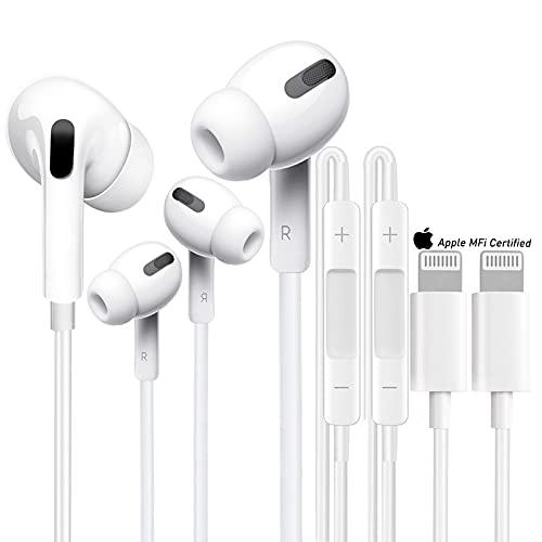 2 Pack Écouteurs Intra-Auriculaires pour iPhone 12, Auriculaires stéréo HiFi filaires avec Micro et contrôle du Volume Écouteur Compatible pour iPhone 12 Pro Max/12 Mini/11/10/SE/X/XS/XR/8/7 Plus