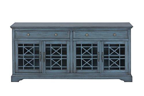 "Jofran: , Craftsman, 70"" Media Unit, 70""W X 19""D X 32""H, Antique Blue Finish, (Set of 1)"