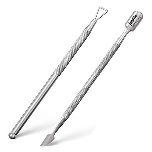 Jestilo Cuticle Pusher and UV Gel Nail Polish Remover [Pack of 2] Cuticle Remover & Trimmer | Nail Art Tools Scraper and Cleaner