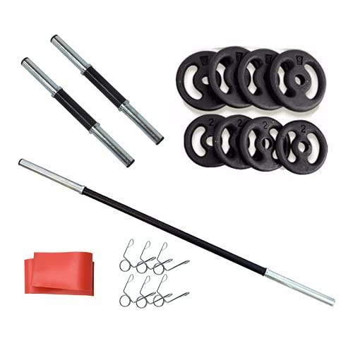 Kit 20kg Anilhas+2 Barras 40cm Com Presilhas+1 Barra 120cm+Mini Band
