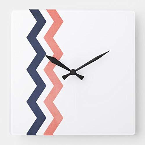 Kysd43Mill Reloj de pared cuadrado de madera con diseño de zigzag, color rosa y azul, para sala de estar, habitación de los niños, niñas y niños, 30,5 cm, regalo de inauguración de la casa