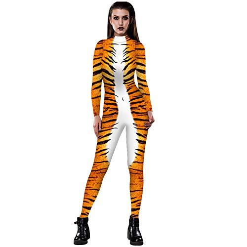 Disfraz de Animal de Piel de Serpiente de Halloween para Mujer, Esqueleto, Estampado en 3D, Mono Flaco, Mono, Fiesta, Traje Divertido para Adulto