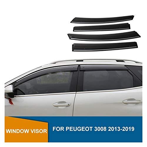 CGDD Windabweiser Für Peugeot 3008 2013 2014 2015 2016 2017 2018 2019 Fenster Deflektor Visor Fenstervisiere Sonnenregen Deflektor Wachen Rauchabzug Schatten
