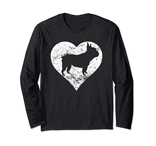 Distressed French Bulldog Heart Dog Owner Graphic Long Sleeve T-Shirt