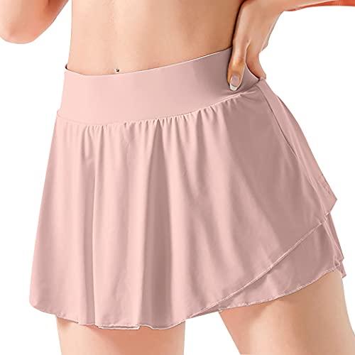 Anjetan Soft Tummy Control Ligero Golf Gym Damas Chicas Mujeres Tenis Skort Causal Soft Simple Fashion Transpirable Ligero Running Skort Skort Atlético con Bolsillo