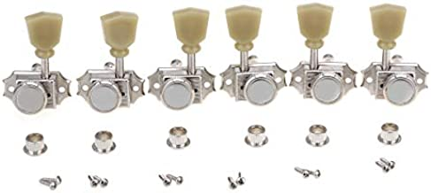 Musiclily Pro Vintage Style 3L3R Guitar Locking Tuners String Tuning Pegs Keys Machine Heads Set for Les Paul Style Electric or Acoustic Guitar, Nickel with Green Keystone Button