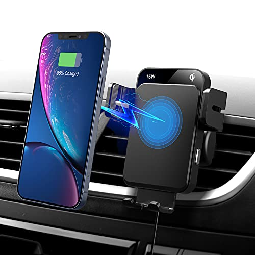 Wireless Car Charger Mount, Auto-Alignment 15W Fast Charging Auto-Clamping Car Charger Phone Mount, Air Vent Phone Holder Compatible with iPhone 12/iPhone 11 Series, Galaxy Series and More
