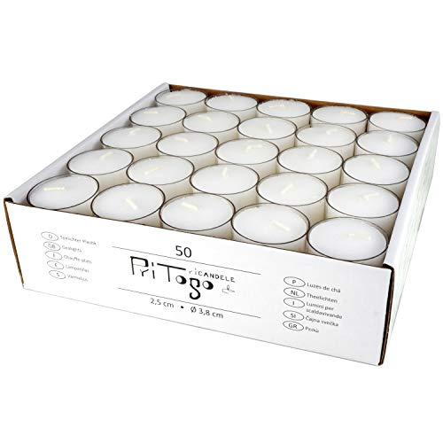 Pritogo Teelichter Kunststoffhülle, Weiss [100 Stück] Ø 3,8 * 2,5 cm, Rußfrei, Brenndauer: 9 Stunden