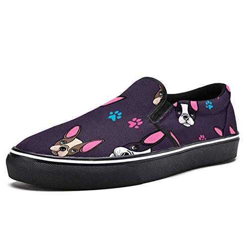Dragon Sword Men Boys Classic Slip On Loafer Shoes French Bulldog Dog Pink Ears Fashion Casual Canvas Cloth Trainers Flat Boat Shoes
