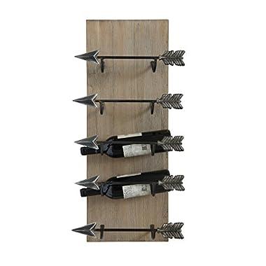 Creative Co-Op DA6810 Wood & Metal Wall Wine Rack with Arrow Shaped Holders