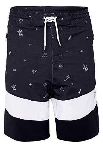 Chiemsee Herren Boardshorts Men Badeshorts, Black/White, 36
