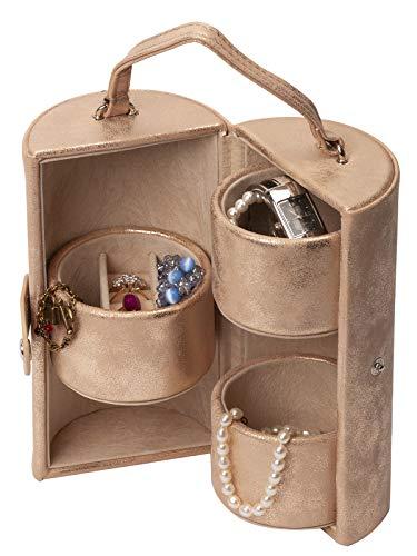 IsmatDecor - Joyero de Viaje Mujer – Original joyero portátil –Estuche joyero redondo con organizador para anillos, pendientes y pulseras – Cuero sintético efecto ante