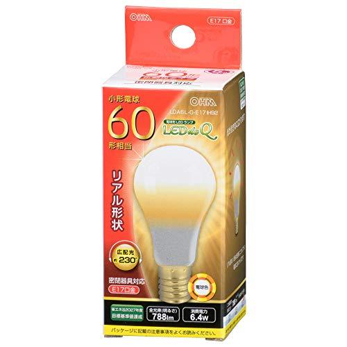 オーム電機 LED電球 小形(60形相当/788lm/電球色/E17/広配光230°/密閉器具対応/断熱材施工器具対応) LDA6L-G-E17 IH92