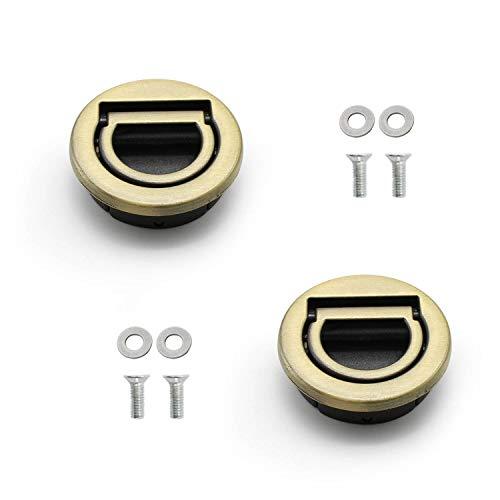 YFaith 2 szt. uchwyt do wyciągania pierścienia, półkoliste uchwyty uchwyt, szafka z uchwytem ukryte, z akcesoriami montażowymi, do drzwi szafki kuchennej, szuflady komody (brąz)