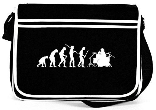 Shirtstreet24, EVOLUTION DRUMMER, Schlagzeuger Retro Messenger Bag Kuriertasche Umhängetasche, Größe: onesize,Schwarz