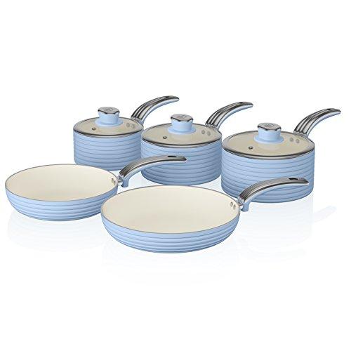Swan SWPS5020BLN Batería de Cocina Antiadherente, Cerámica, Incucción, 2 Sartenes 20/28 cm, 3 Cacerolas 16/18/20 cm, Azul, Metal, 29.5x47x18 cm, 5 Set