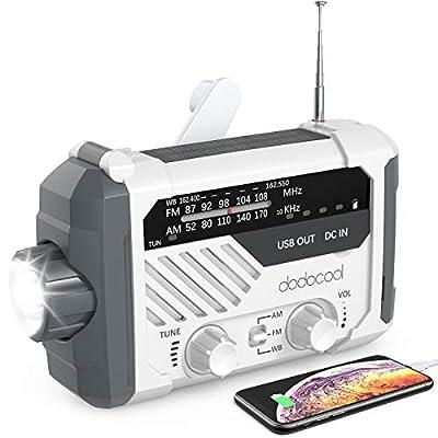 Emergency Radio, dodocool NOAA Weather Radio, Hurricane Supplies Hand Crank Battery Operated Solar Survival Radio with AM/FM, LED Flashlight, Reading Lamp, 2000mAh Cell Phone Charger, SOS Alert