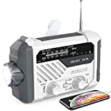 Emergency Radio, dodocool NOAA Weather Radio, Hurricane Supplies Hand Crank Battery Operated Solar Survival Radio with AM/FM, LED Flashlight, Reading Lamp, 2000mAh Cell Phone Charger, SOS Alert