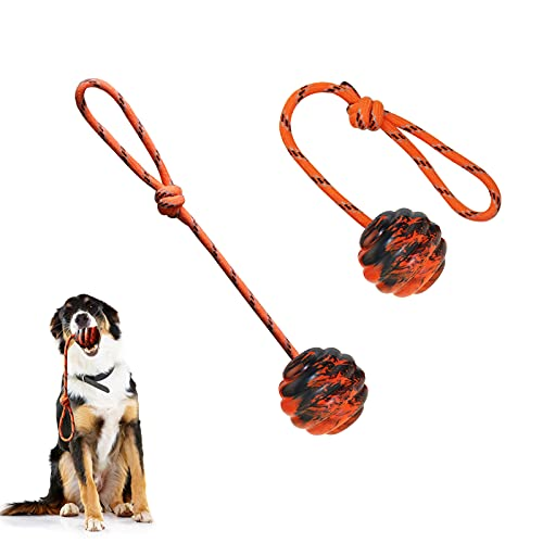 Vitalili 2Pcs Dog Training Ball on Rope Dog Rope Toys Ball Exercise and Reward Toy for Dogs for Chew Training Pull Throw Toy tug Toy Dogs Fetch Toys Belgian Malinois Gifts