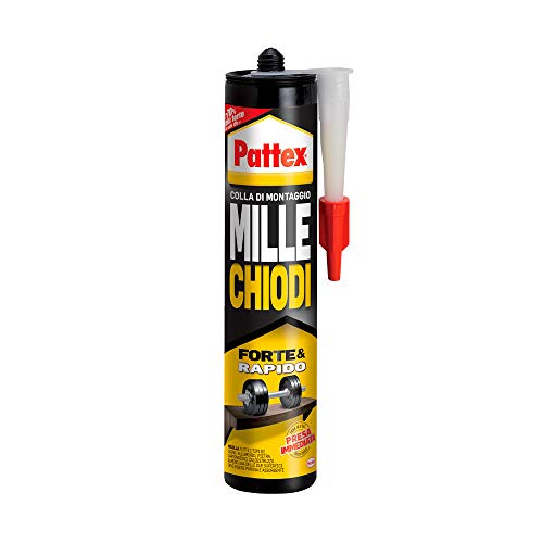 Pattex Millechiodi Forte & Rapido, adesivo di montaggio extra forte che sostituisce viti e fori al muro, adesivo bianco con effetto ventosa in formato cartuccia, 1x400g