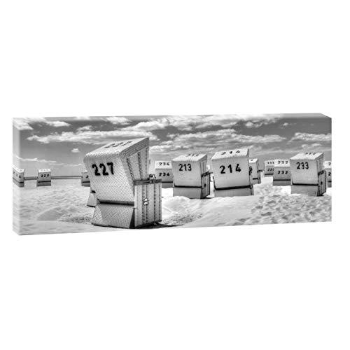 Querfarben Bild auf Leinwand mit Landschaftsmotiv Strandkörbe in SPO | 120 x 40 cm, SW, Wandbild, Leinwandbild mit Kunstdruck, Nordseebild mit Strandmotiv auf Holzrahmen gespannt, 40x120 cm
