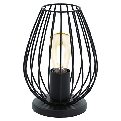 EGLO Tischlampe Newtown, 1 flammige Vintage Tischleuchte, Nachttischlampe aus Stahl, Farbe: Schwarz, Fassung: E27, inkl. Schalter