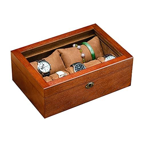 QFWM Organizador de visualización de reloj10/7 caja de reloj de madera caja de reloj de joyería, caja de almacenamiento impermeable