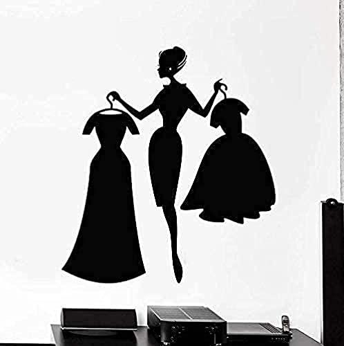 Tienda de niña etiqueta de la pared de compras tienda de ropa decoración de interiores vestido niña dormitorio arte pared 62X57Cm vinilo etiqueta de la ventana